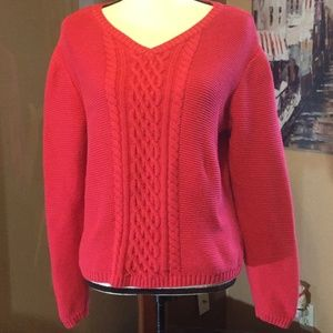 Talbots Cable Knit red sweater medium